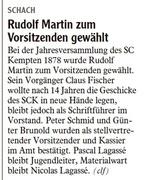Rudolf Martin zum Vorsitzenden gewählt