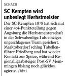 Kempten unbesiegt Herbstmeister