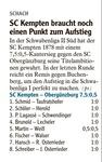 SC Kempten braucht noch einen Punkt zum Aufstieg