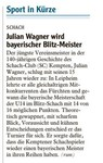 Julian Wagner wird bayerischer Blitz-Meister